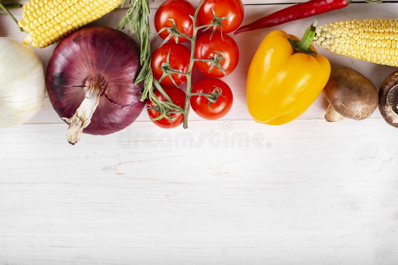 Healthy food.Big set of fresh vegetables on a wite background  . Vegan or diet food concept. Background layout with free text space royalty free stock images