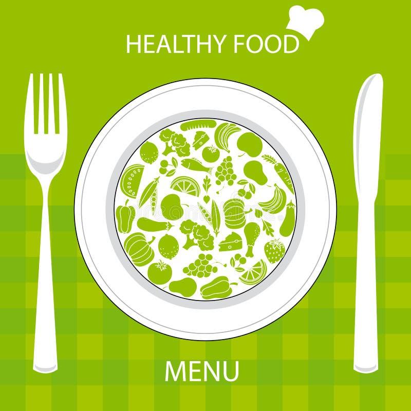 Healthy food card. Restaurant menu card. Plate with healthy food vector illustration
