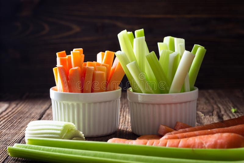 Healthy food - celery and carrot stock image