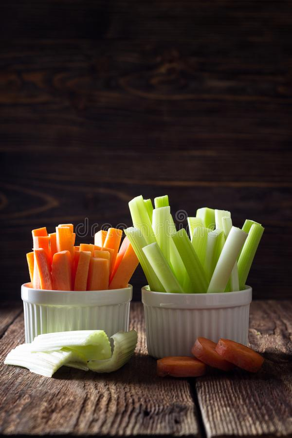 Healthy food - celery and carrot stock photo