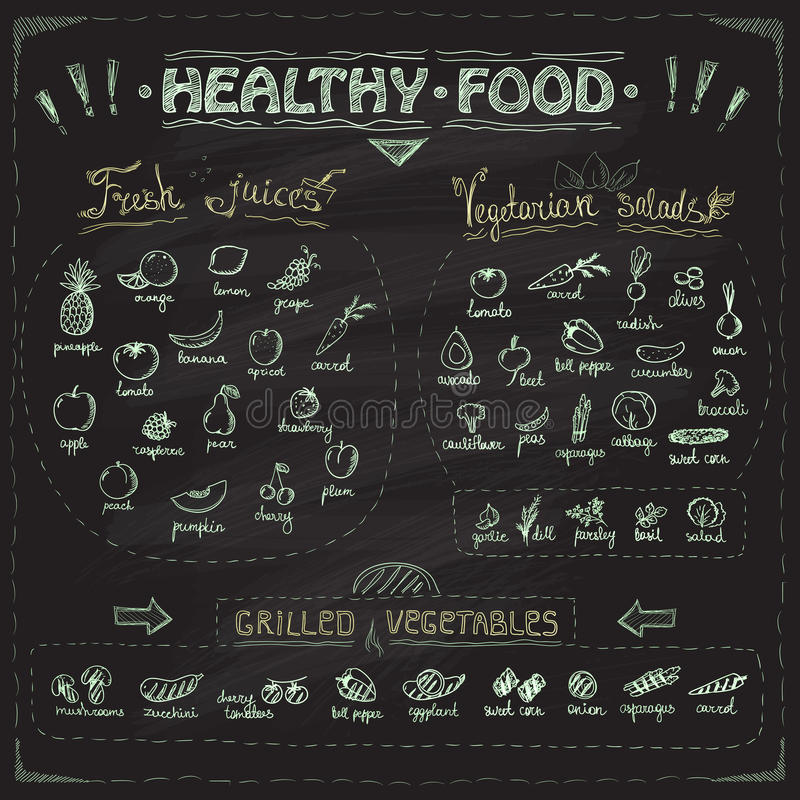 Healthy food chalkboard menu with hand drawn assorted fruits and vegetables. Healthy food chalkboard menu with hand drawn assorted fruits and vegetables chalk vector illustration