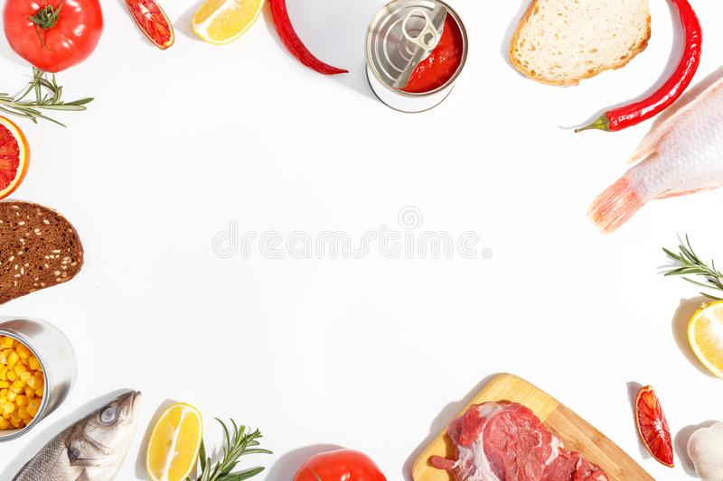 Healthy food clean eating selection: fruit, vegetable, seeds, fish, meat, leaf vegetable on white background. Top view. Organic fresh vegetables avocado tomato stock photos