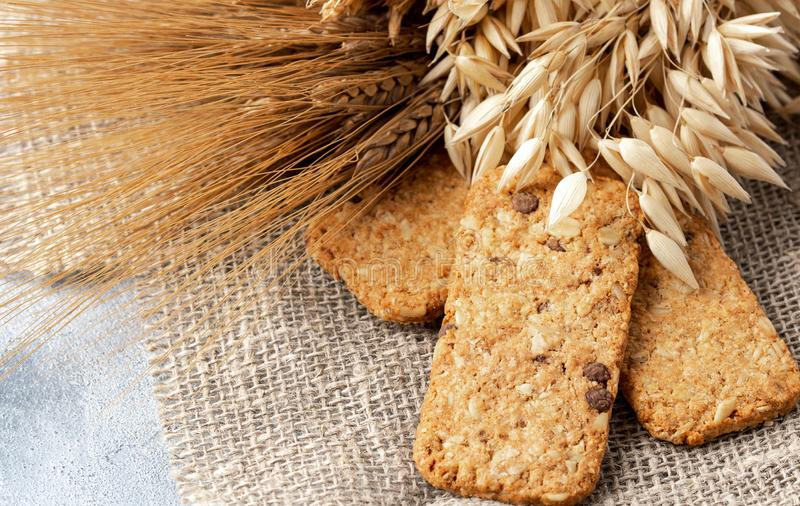 Healthy food concept: cereal biscuits with ears stock photos