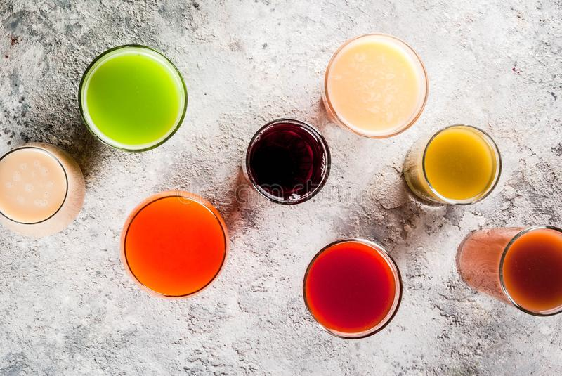 Different juices and smoothies stock photos