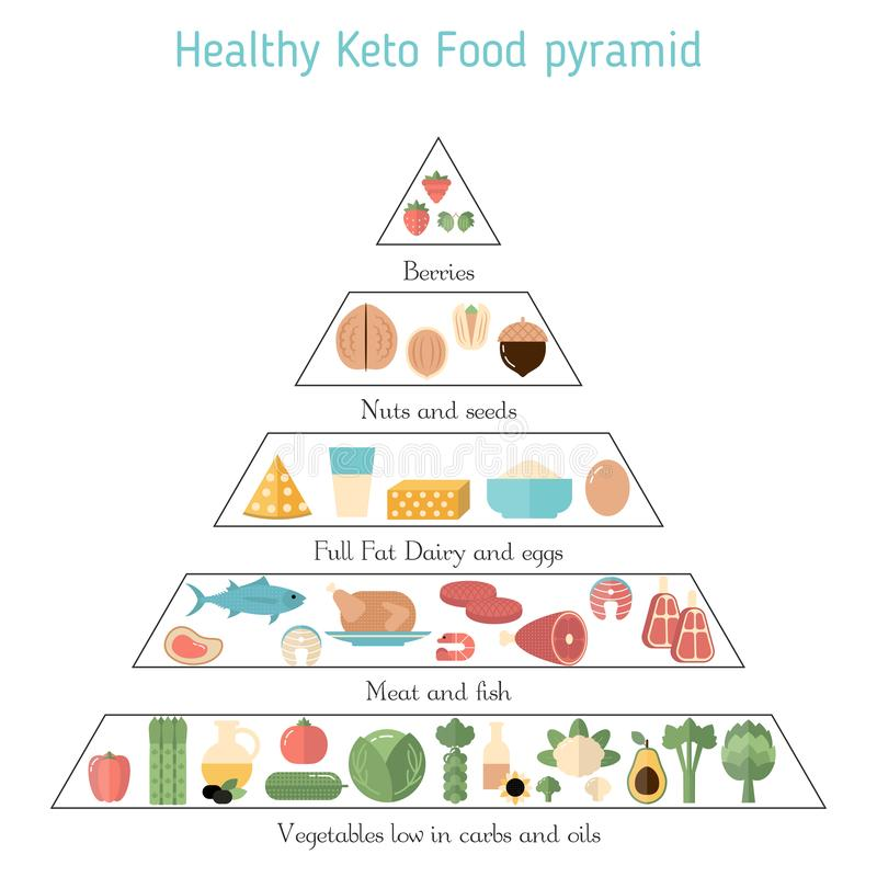 Healthy food concept. Foods infographics. Ketogenic diet concept with keto food icons. What to eat stock illustration