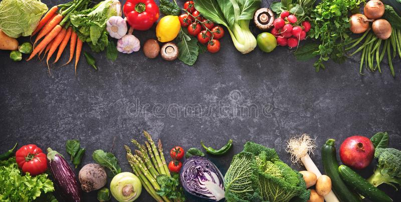 Healthy food concept with fresh vegetables and ingredients for cooking stock photos