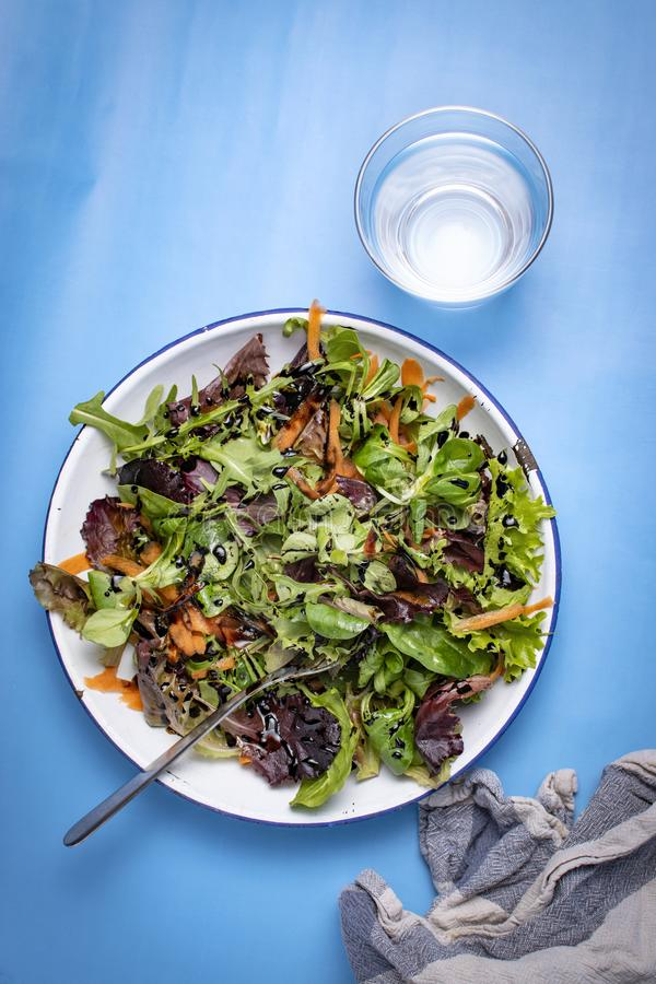 Healthy food concept. Salad plate on a blue background royalty free stock image