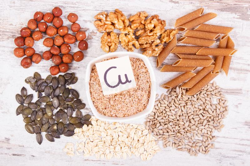 Healthy food containing copper, minerals and dietary fiber, healthy nutrition concept. Healthy food containing copper, dietary fiber and natural minerals stock photography