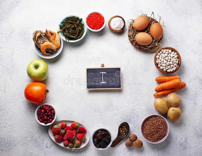 Healthy food containing iodine. Products rich in I stock images