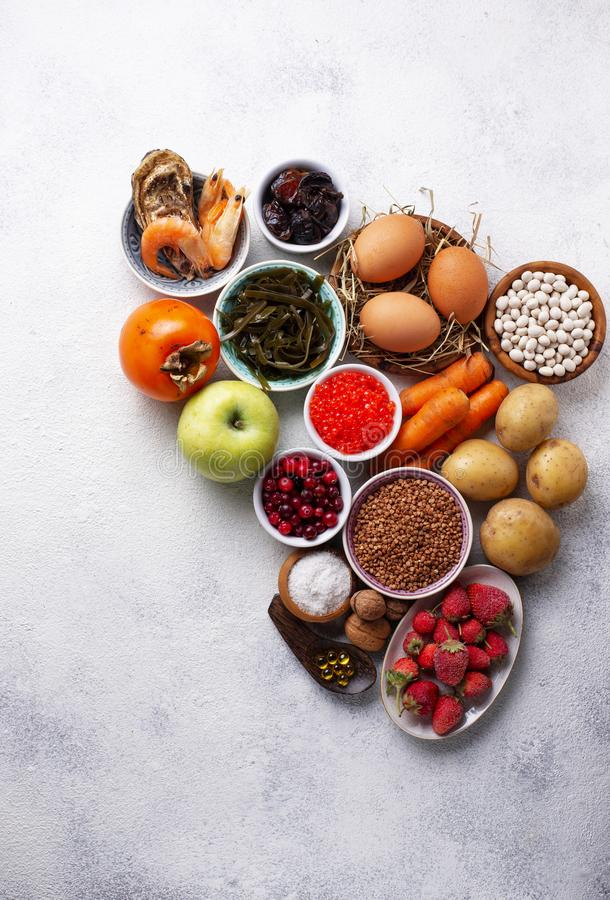 Healthy food containing iodine. Products rich in I royalty free stock photography