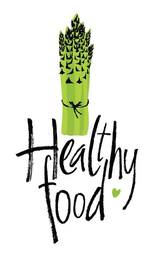Healthy food, design card with asparagus. Healthy food, design card with fresh asparagus royalty free illustration