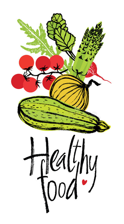 Healthy food design card with fresh vegetables. Healthy food design card with natural fresh vegetables royalty free illustration