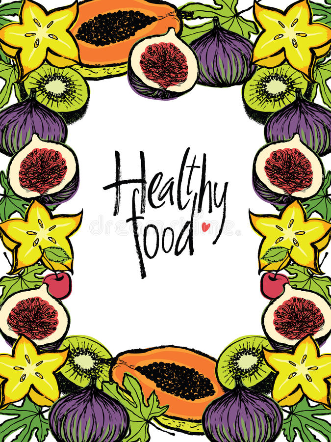 Healthy food design frame with fresh fruits. And leaves stock illustration