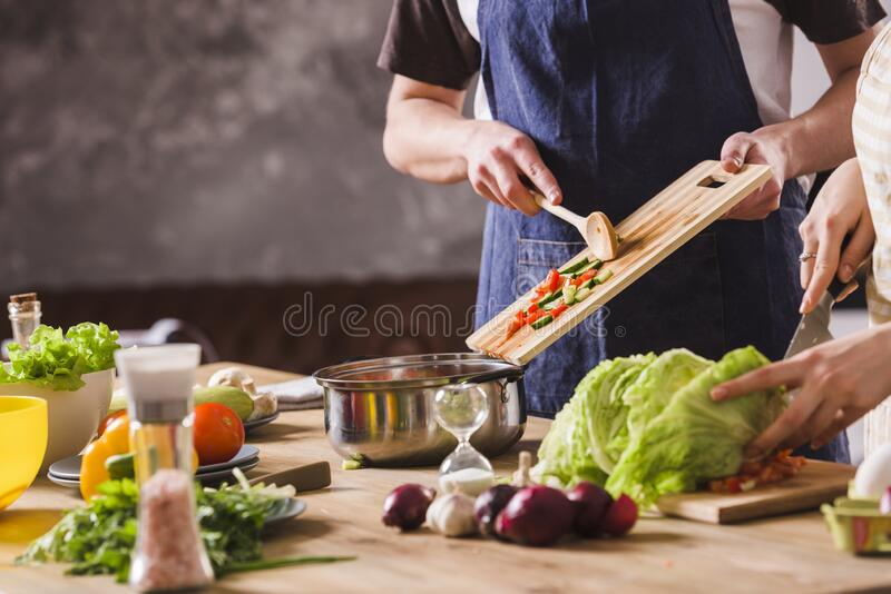 Healthy food eating. organic natural vegetables and salad. balanced nutrition. wholesome meal cooking stock photos