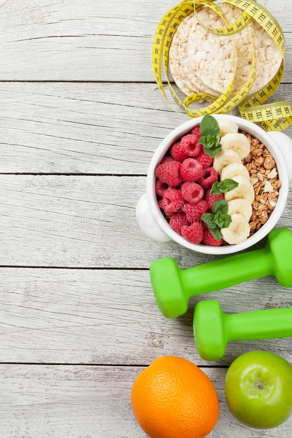 Healthy food and fitness concept stock photography