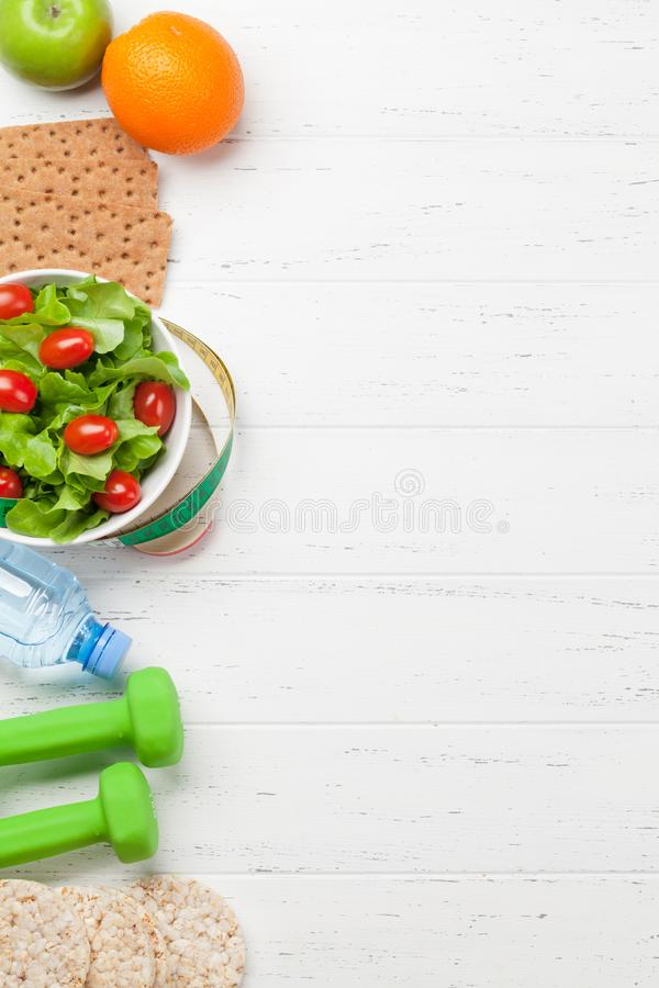 Healthy food and fitness concept royalty free stock photography