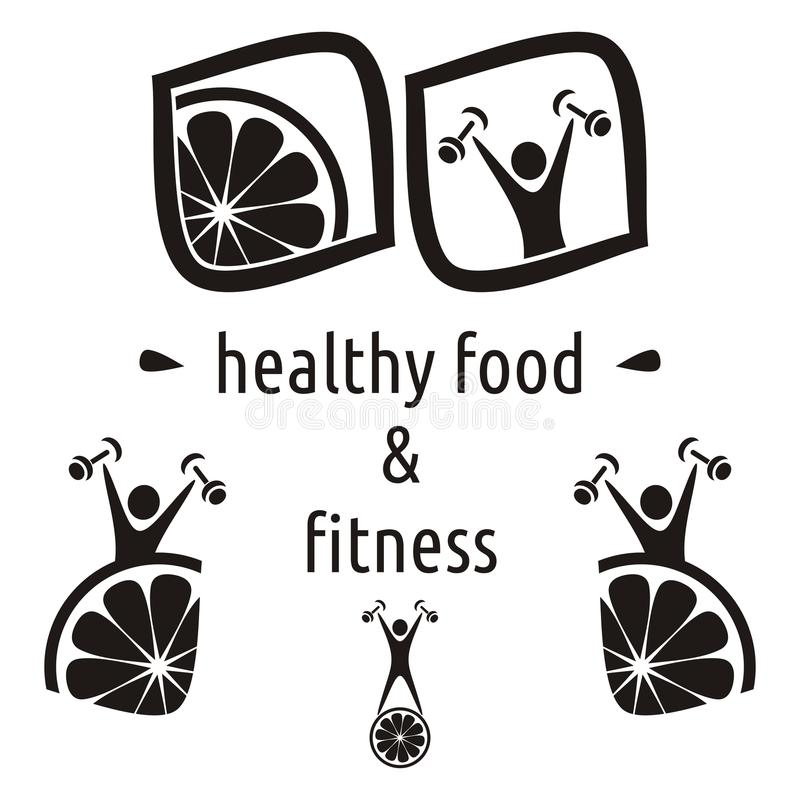 Healthy food and fitness symbols. Black healthy food and fitness symbols isolated royalty free illustration