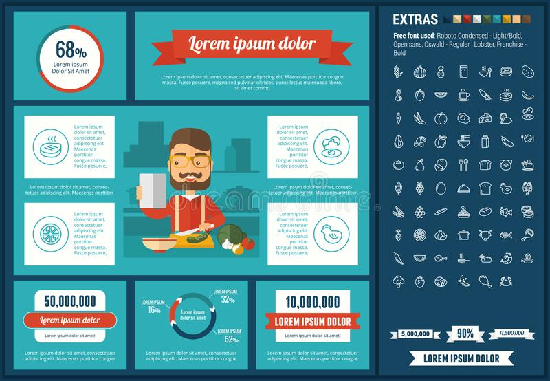 Healthy Food flat design Infographic Template. Healthy Food infographic template and elements. The template includes illustrations of hipster men and huge vector illustration