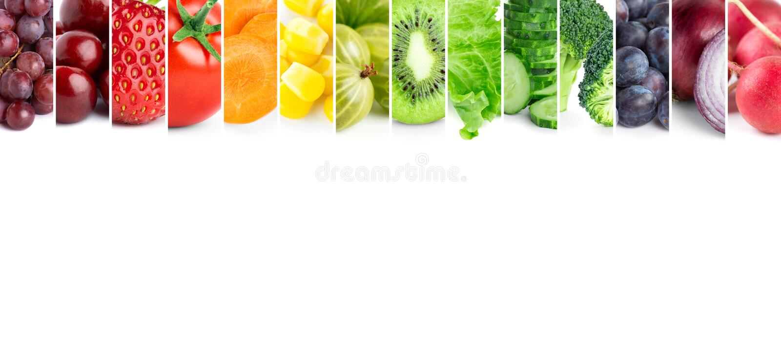 Healthy food. Fresh color fruits and vegetables stock image