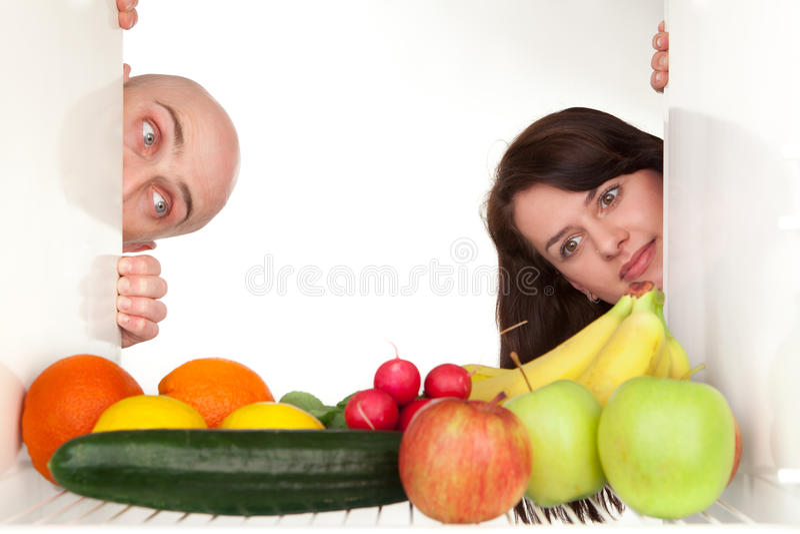 Healthy food in fridge stock photography