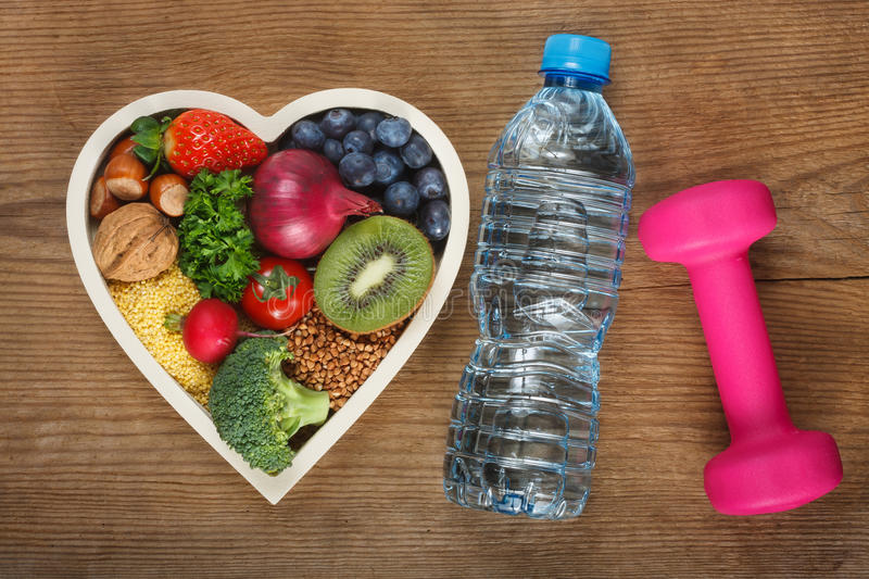 Healthy food in heart shaped bowl royalty free stock images
