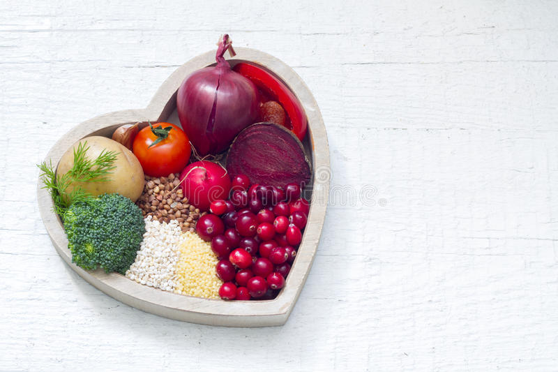 Healthy food in heart sign of healthy lifestyle royalty free stock photos