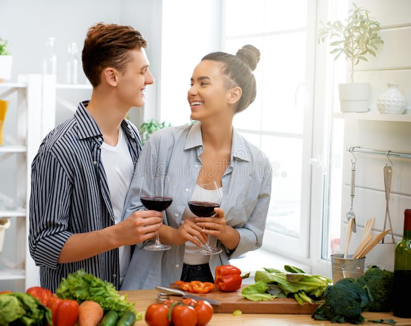 Loving couple is preparing the proper meal royalty free stock photography