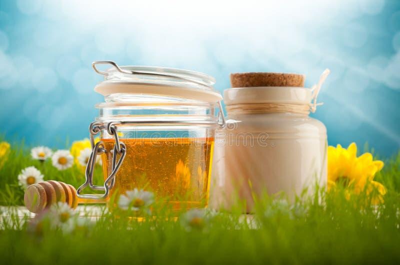 Healthy food -honey. Healthy food - jars of honey and spring flowers royalty free stock photo