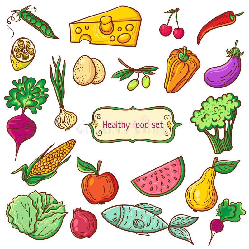 Download Healthy food icon set stock vector. Illustration of fish - 50457328