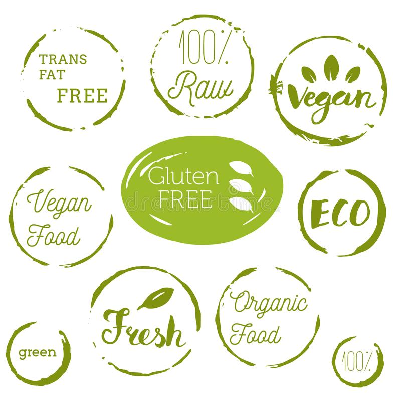 Healthy food icons, labels. Organic tags. Natural product elements. Logo for vegetarian restaurant menu. Raster illustration. Low stock illustration