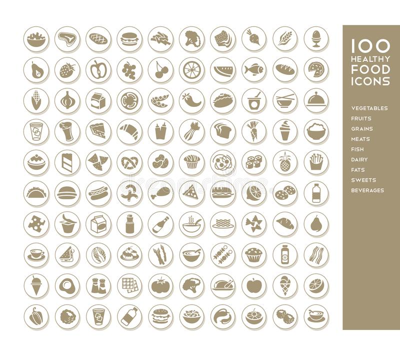 100 healthy food icons vector illustration