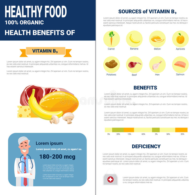 Healthy Food Infographics Products With Vitamins, Health Nutrition Lifestyle Concept. Flat Vector Illustration royalty free illustration