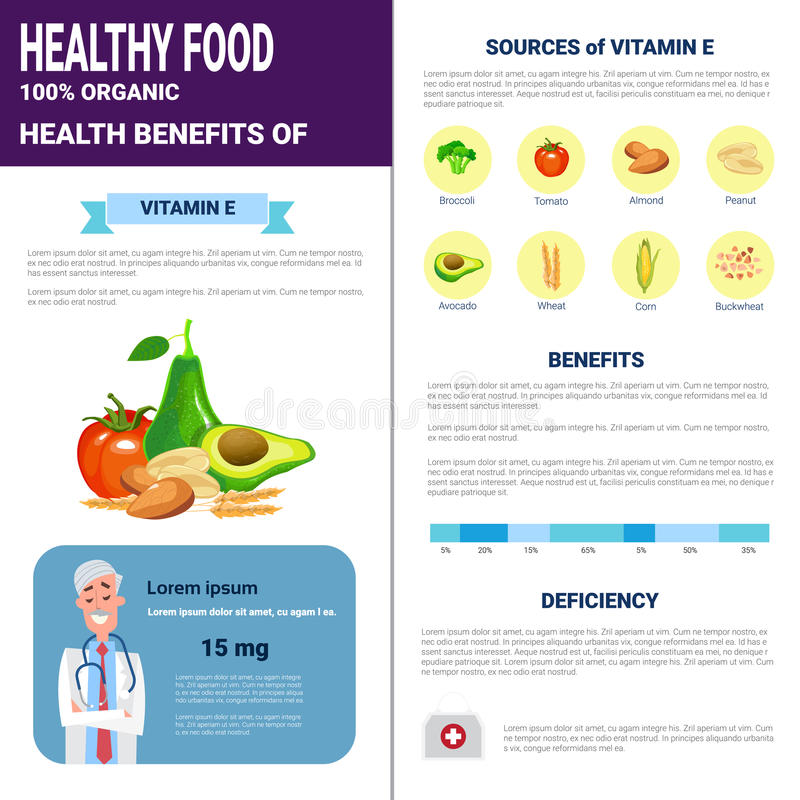 Healthy Food Infographics Products With Vitamins, Health Nutrition Lifestyle Concept. Flat Vector Illustration stock illustration