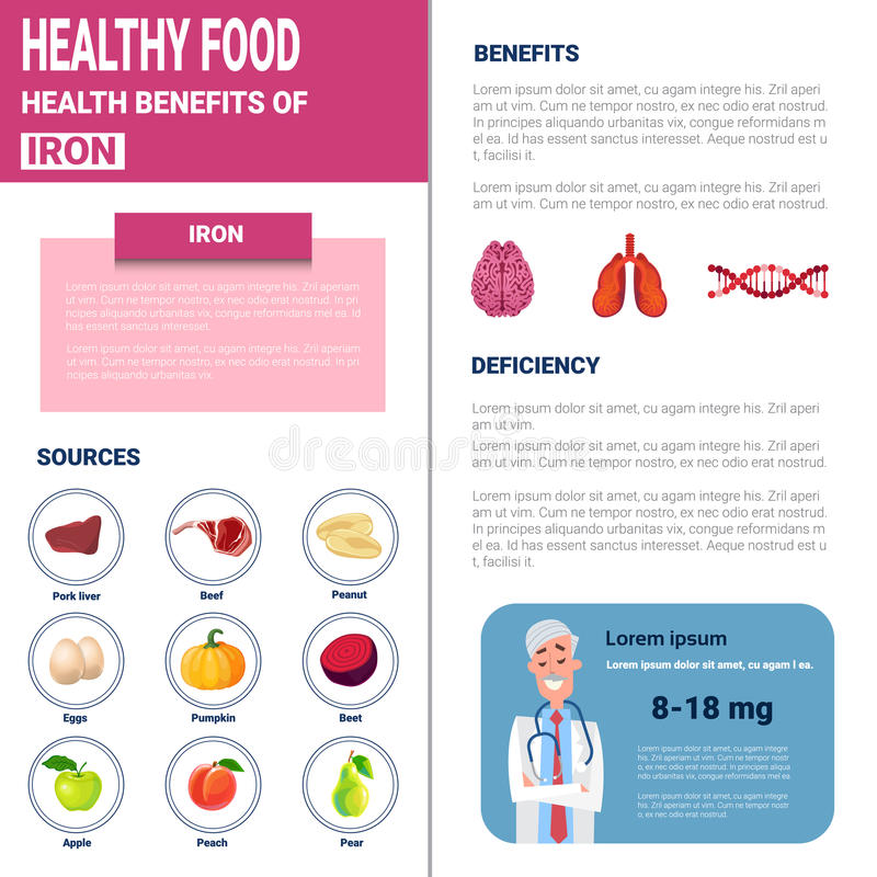 Healthy Food Infographics Products With Vitamins And Minerals, Health Nutrition Lifestyle Concept stock illustration