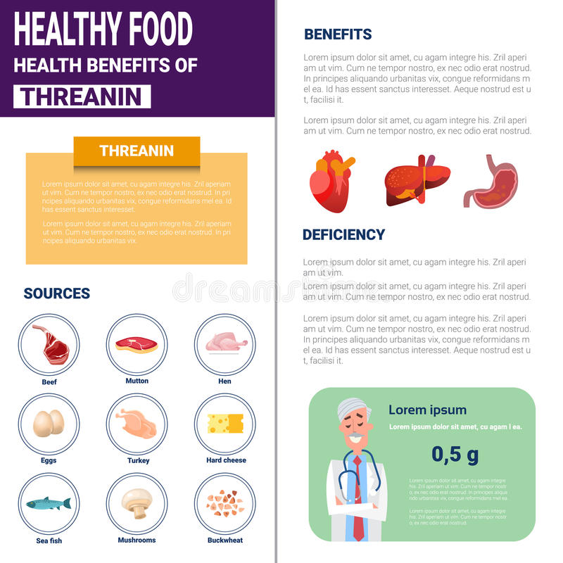 Healthy Food Infographics Products With Vitamins And Minerals Sources, Health Nutrition Lifestyle Concept. Flat Vector Illustration stock illustration