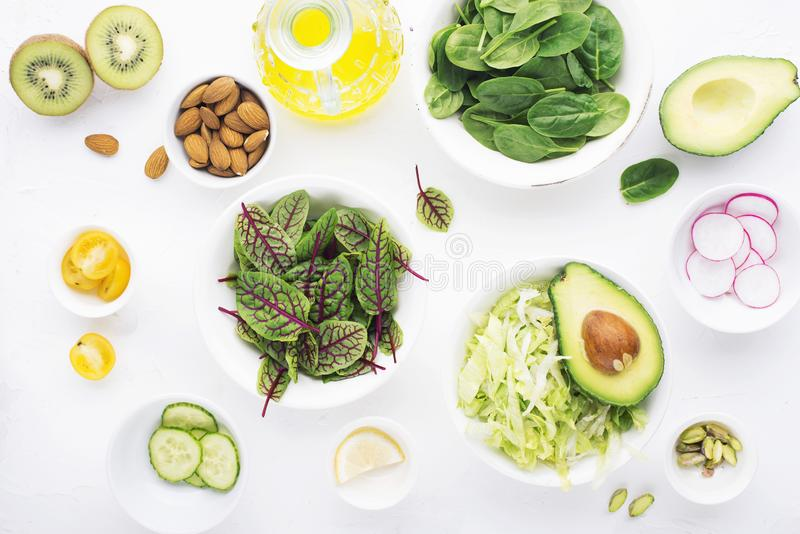 Healthy food. Ingredients for a fresh green vegetarian vegetable salad from fresh vegetables. Top view. stock photos