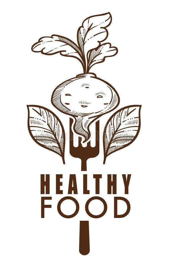 Healthy food isolated icon beetroot and leaves. Beetroot on fork and leaves healthy food isolated vector icon proper nutrition or vegetable detox diet dietary vector illustration