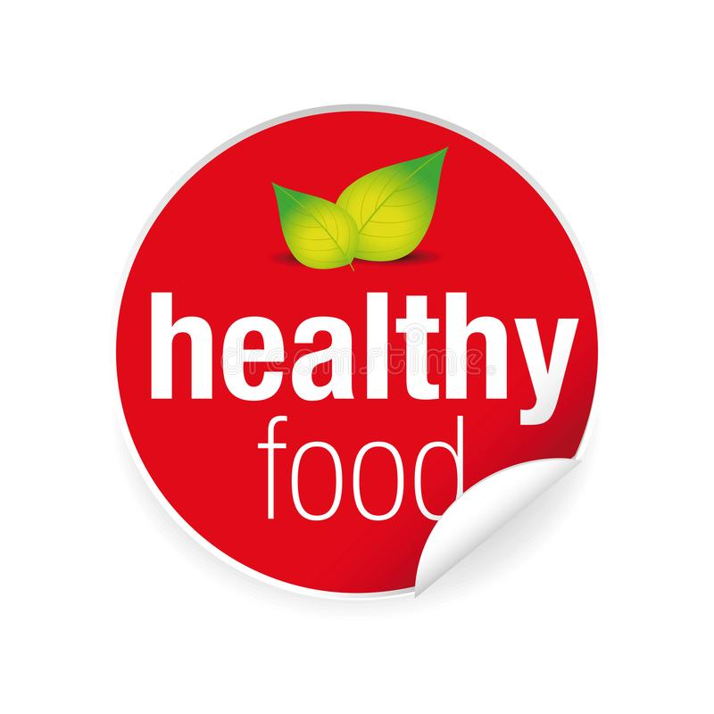 Healthy food label tag red vector illustration