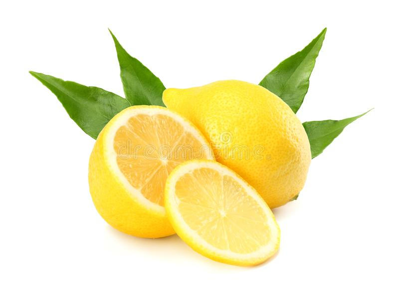 Healthy food. lemon with slices and green leaf isolated on white background royalty free stock photos
