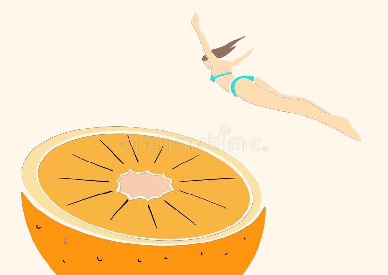 Young woman in bikini jumps into orange. vector illustration