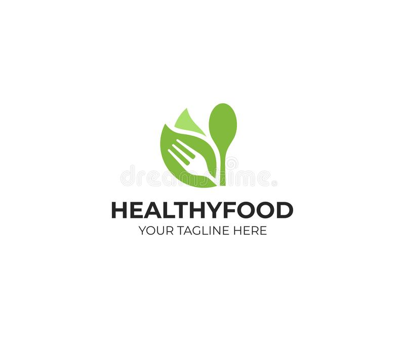 Healthy food logo template. Organic food vector design royalty free illustration