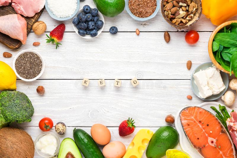 Healthy food low carb keto ketogenic diet. high good fat products. top view. Flat lay royalty free stock image
