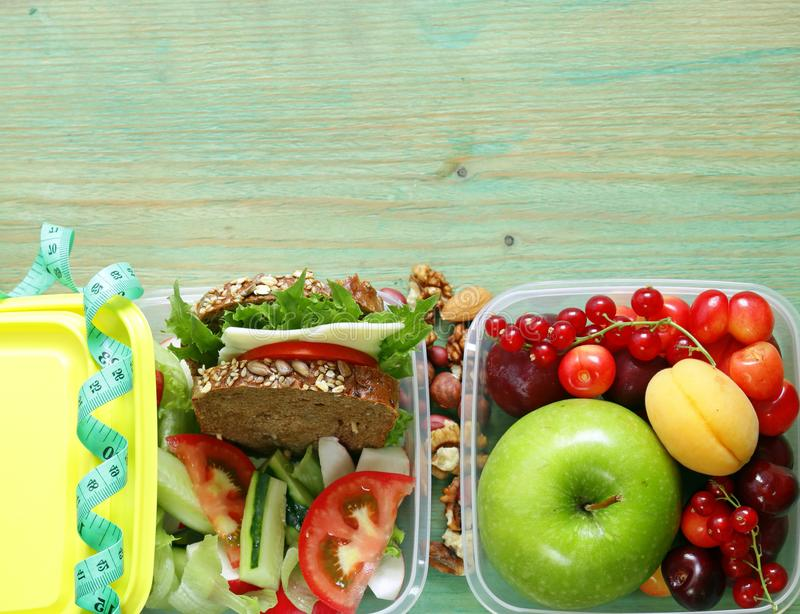Healthy food - lunch box royalty free stock images