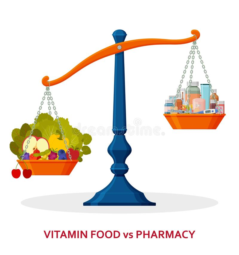 Healthy food and medicines on balanced scale. Healthy lifestyle concept. Vector illustration vector illustration