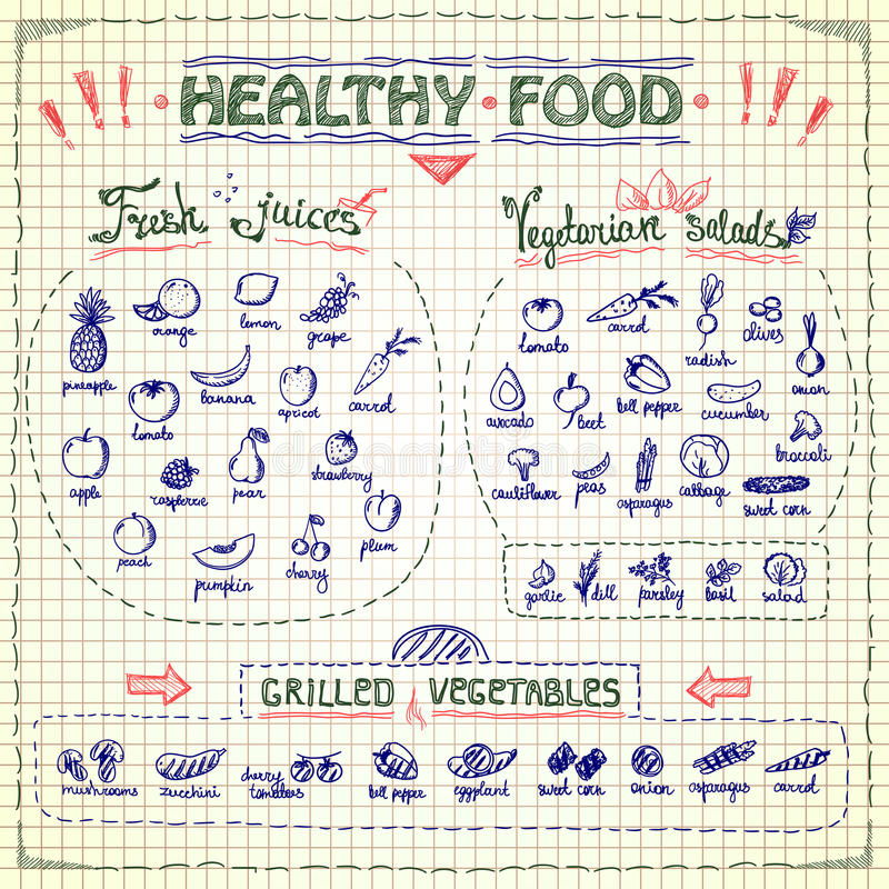 Healthy food menu list with hand drawn assorted fruits and vegetables graphic symbols. Vector collection against plaid paper. Fresh juices, vegetarian salads royalty free illustration