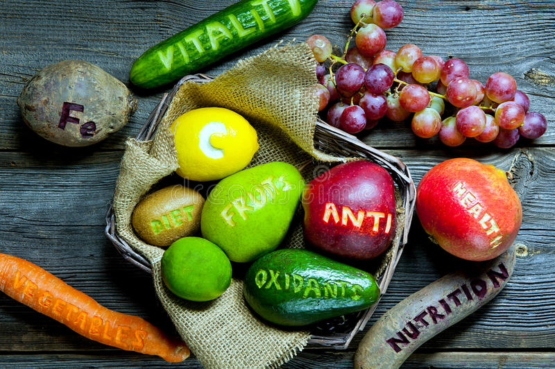 Healthy food. Natural antioxidants: fruits and vegetables stock photos
