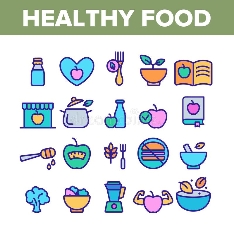 Healthy Food Nutrition Collection Icons Color Set Vector. Healthy Food Nutrition Collection Icons Set Vector Thin Line. Honey, Broccoli And Apple Ingredients stock illustration