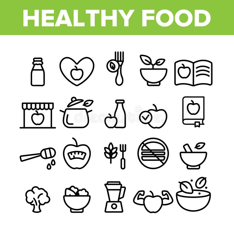 Healthy Food Nutrition Collection Icons Set Vector. Thin Line. Honey, Broccoli And Apple Ingredients Health Breakfast Food Concept Linear Pictograms. Monochrome stock illustration