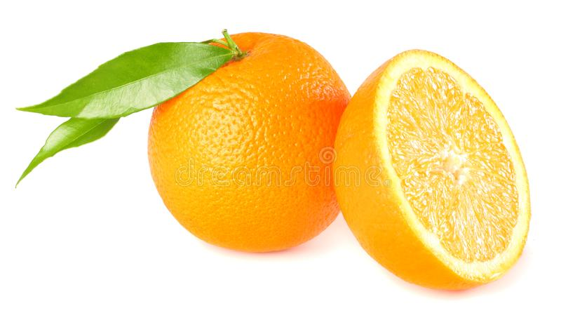 Healthy food. orange with green leaf isolated on white background royalty free stock image