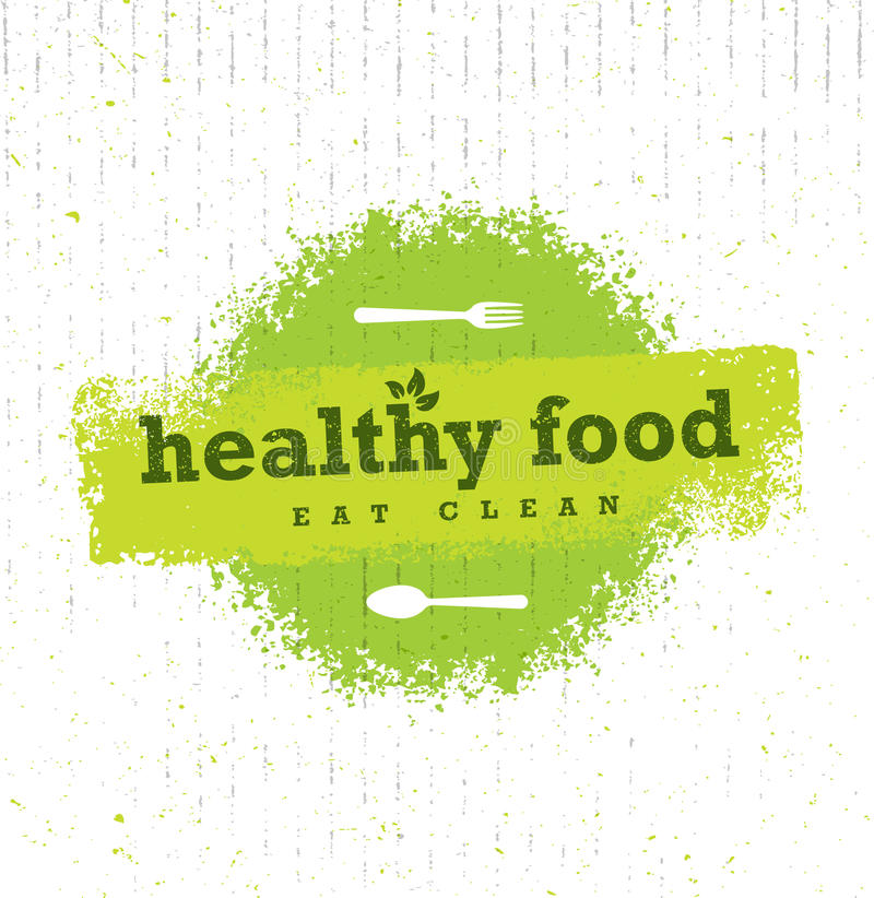 Healthy Food Organic Paleo Style Rough Vector Design Element On Cardboard Background. stock illustration